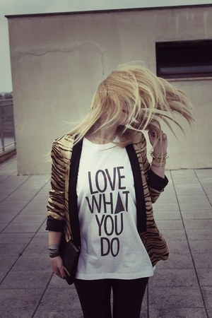 white Dress it t-shirt - black Calzedonia leggings - Zara blazer