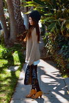 MNG boots - vintage dress - H&M hat - Wasteland sweater - Malaysian scarf