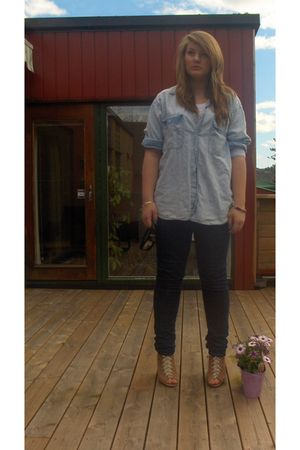 blue Levis shirt - blue Cubus jeans - brown Miss Selfridges shoes - black BikBok
