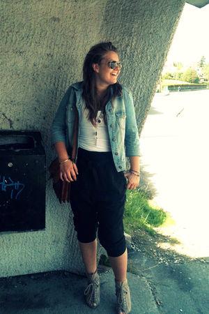black Cubus pants - blue warehouse jacket - brown accessories - beige DinSko sho