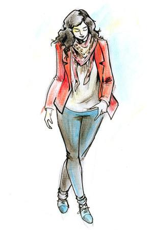 animal print scarf - jeggings New Yorker jeans - New Yorker blazer