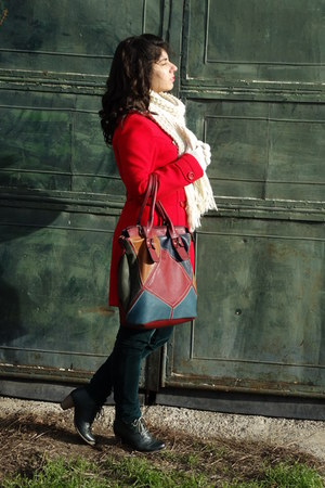 red coat - Zara scarf - Terranova pants