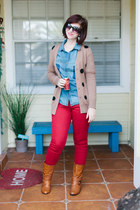 camel polka dot Conversation Pieces cardigan - tawny go jane boots