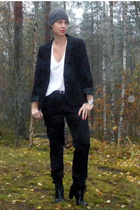 gray H&M hat - black lindex blazer - black GINA TRICOT pants - black vagabond sh