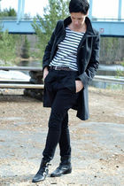 gray united colors of benetton coat - white H&M shirt - black acne pants - black