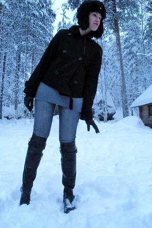 black IcePeak hat - black Jackpot jacket - silver H&M jeans - black Ellosfi boot