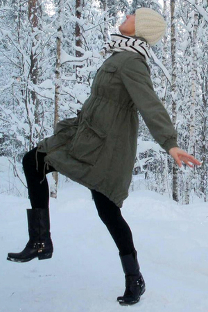 green H&M coat - black Kentucky Western boots