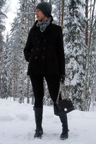 gray H&M hat - black Story coat - black Ten Points boots - black GINA TRICOT acc