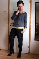 gray GINA TRICOT shirt - yellow H&M tights - black Filippa K pants