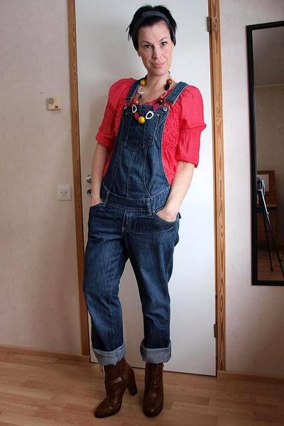 red saint & mortals blouse - blue H&M jeans - brown H&M boots