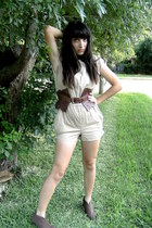 tan random romper - dark brown random belt - dark brown random boots