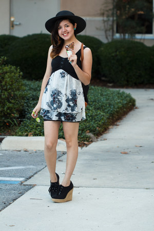 black studded Forever 21 hat - Forever 21 wedges