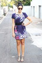 purple Primark dress - beige new look shoes - brown H&M sunglasses
