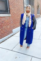 forest green thrifted vintage jacket - American Apparel shirt - navy scarf