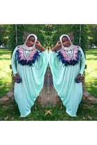aquamarine custom made dress - silver Hijab scarf