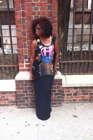 black Handwritten top - black JCrew skirt