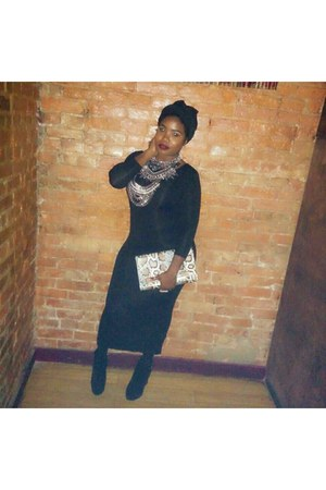 silver accessories - black H&M dress - black chiffon head wrap scarf