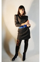 gray Zara dress - black tights - blue American Apparel belt - blue Fendi boots -