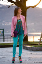 aquamarine Matthew Williamson for H&M jeans - bubble gum dolce e gabbana jacket