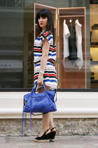 H&M dress - blue balenciaga purse - black Louis Vuitton shoes