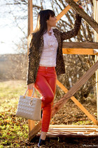 red Pinko pants - white Motivi shirt - camel Zara jacket - black Jimmy Choo boot