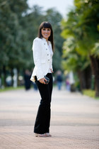 white Zara jacket - black Alexander McQueen bag - black roberto cavalli pants -