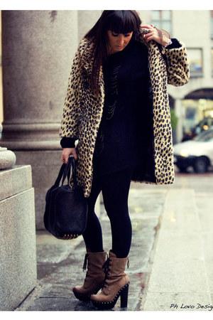 black unknown panties - black Topshop jumper - camel Miu Miu boots - black Alexa