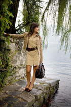 beige vintage dress - beige Dolce&Gabbana jacket - brown Casadei shoes - vintage