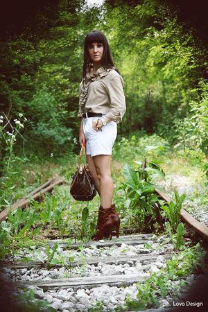 white Zara shorts - beige Zara shirt - brown Louis Vuitton belt - brown Miu Miu