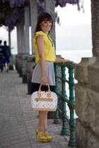white Louis Vuitton bag - neutral Zara skirt - yellow cesare paciotti heels - ye