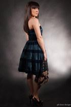 teal Betsey Johnson dress - light brown Gucci bag - black Gucci shoes