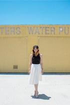 white midi Nordstrom skirt - black tank top H&M top