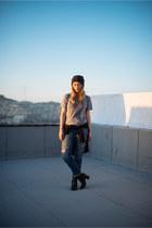 blue boyfriend jeans Gap jeans - black H&M boots - gray beanie Goorin Bros hat