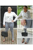 white Levis shirt - heather gray Forever21 leggings - black Zara bag