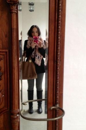black pull&bear boots - black Zara blazer - pink Bimba & Lola scarf