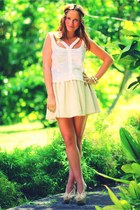 beige Maje skirt - white Topshop top