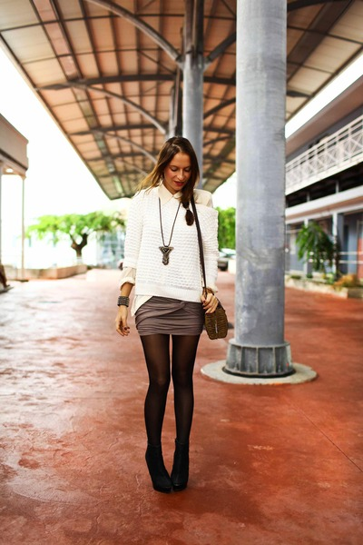 nastygal skirt - Zara sweater