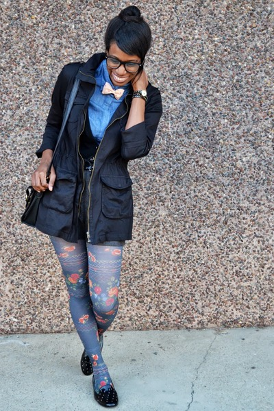 blue floral modcloth tights - black modcloth jacket