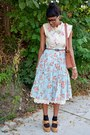 Brown-braided-thrifted-belt-light-yellow-floral-print-moon-collection-dress
