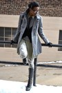Heather-gray-single-breasted-tulle-coat-black-lace-up-wedge-qupid-boots