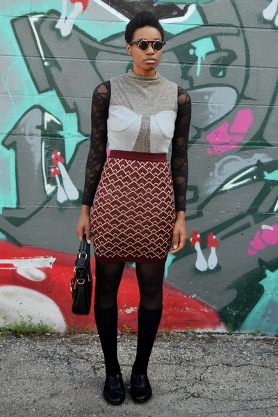 maroon fish scale THML skirt - light brown Theme dress