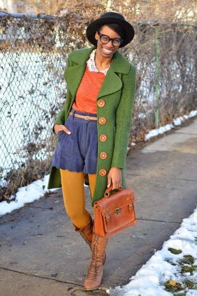forest green wooden button thrifted coat - brown knee high UrbanOG boots