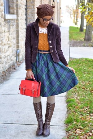 navy OASAP skirt - dark brown thrifted boots - mustard chicnova sweater
