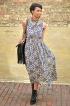 black thrifted boots - blue floral maxi thrifted dress - black chicnova bag
