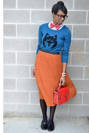 blue wolf Ladakh sweater - black modcloth tights - red satchel chicnova bag