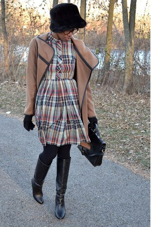 light brown wrap BB Dakota coat - black modcloth boots - tan thrifted dress