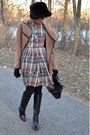 Black-modcloth-boots-tan-thrifted-dress-light-brown-wrap-bb-dakota-coat