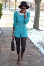 Turquoise-blue-thrifted-romper-dark-brown-urbanog-boots