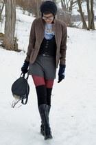 black Bamboo boots - light brown wool thrifted blazer