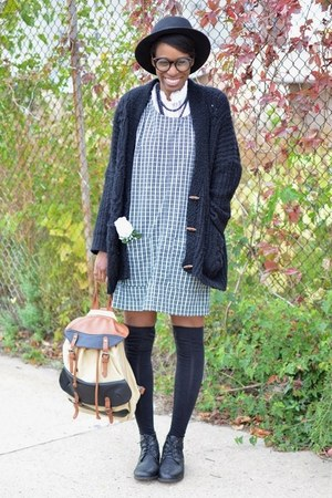 black UrbanOG boots - dark green plaid pinafore vintage dress
